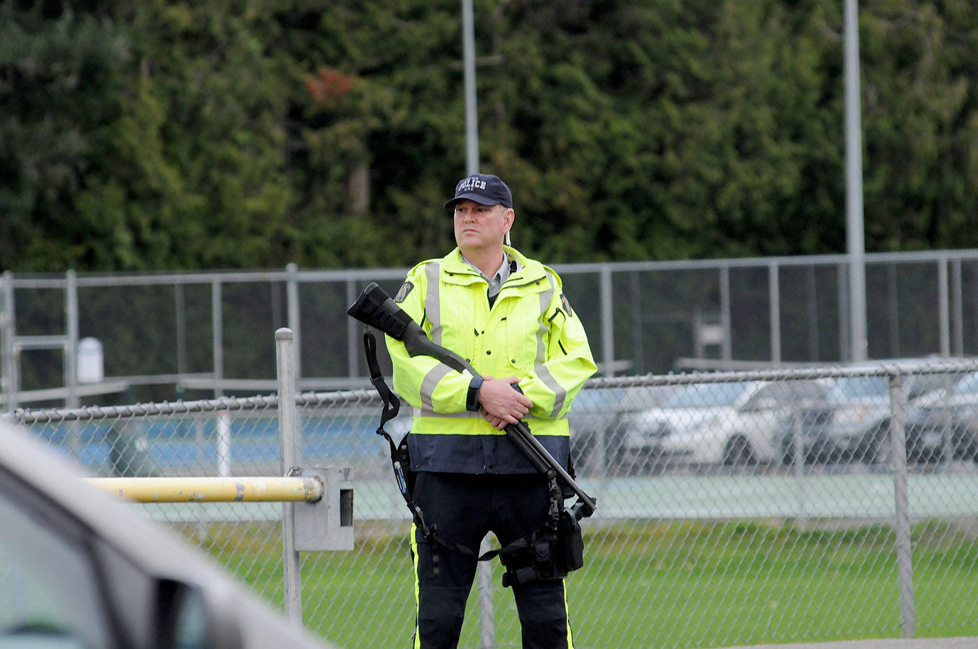 There was a large police presence outside Brookswood Secondary School after the school was put under lockdown Wednesday afternoon. All the students were escorted out of the school safely. Troy Landreville Langley Times