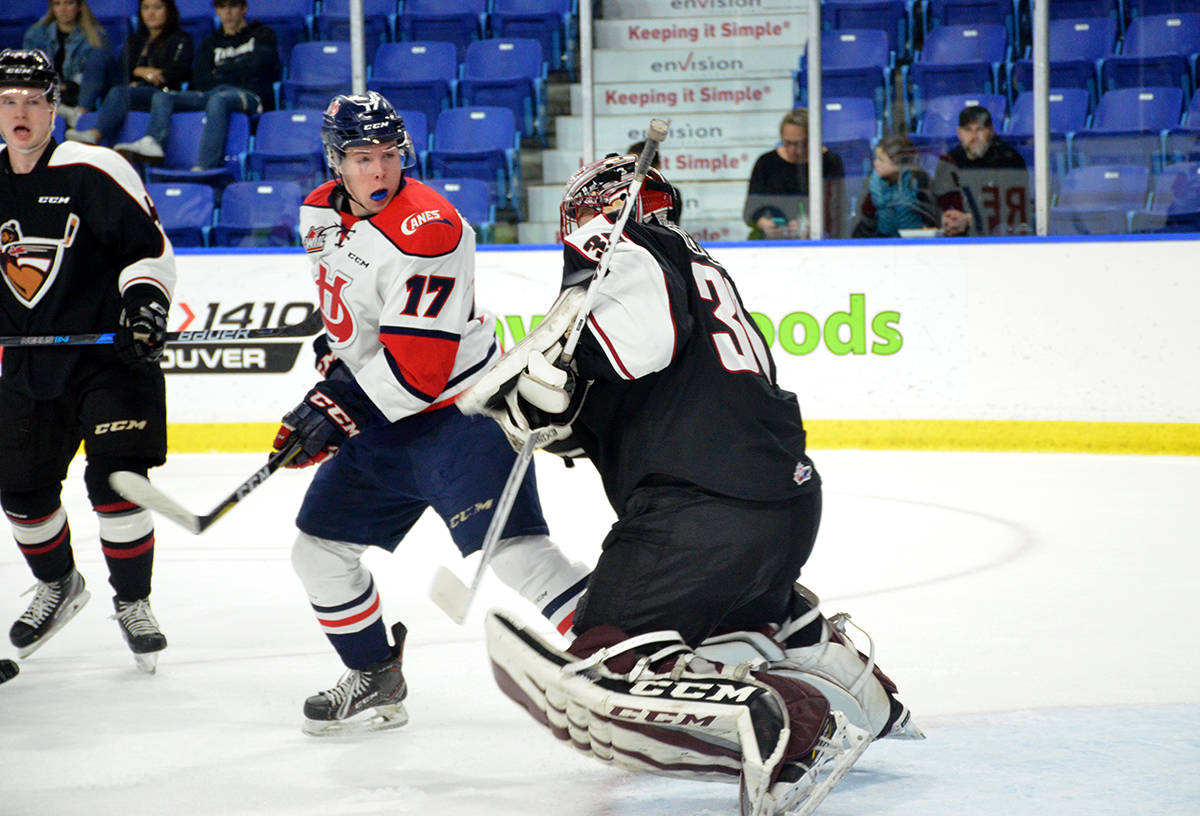 Vancouver Giants David Tendeck makes the save against the Lethbridge Hurricanes during WHL action at the Langley Events Centre on Nov. 22. Gary Ahuja Langley Times