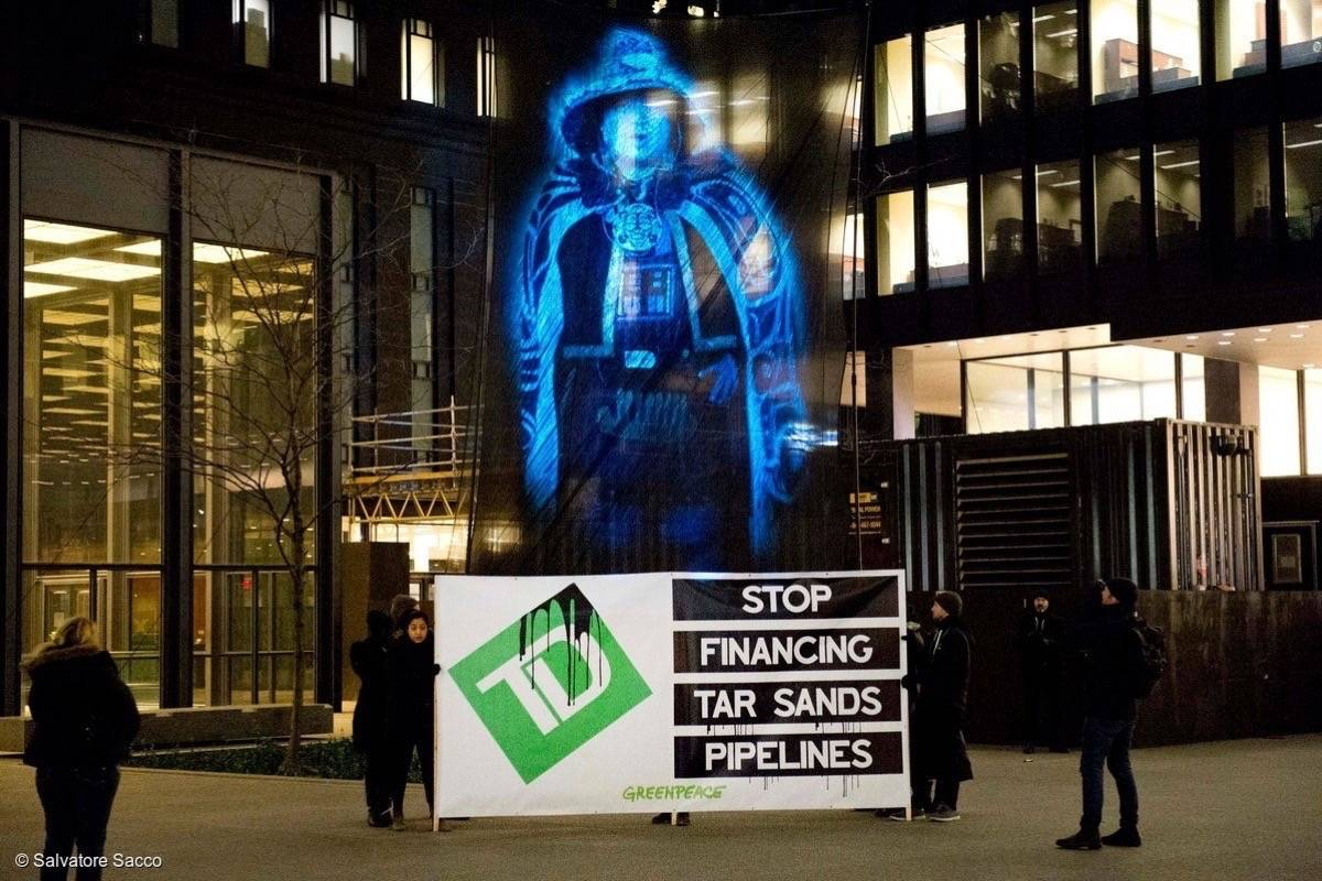 Brandon Gabriel was one of several people who took part in a hologram protest of the Kinder Morgan pipeline. Photo from the Greenpeace Canada Facebook page.