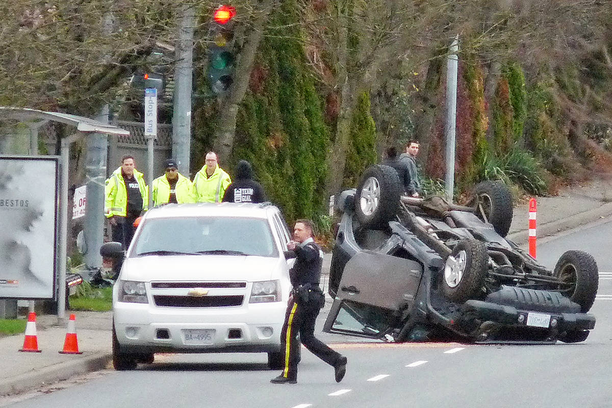 A pedestrian passing by was hit when two SUVs collided near 200 Street and 66 Avenue. Dan Ferguson Langley Times