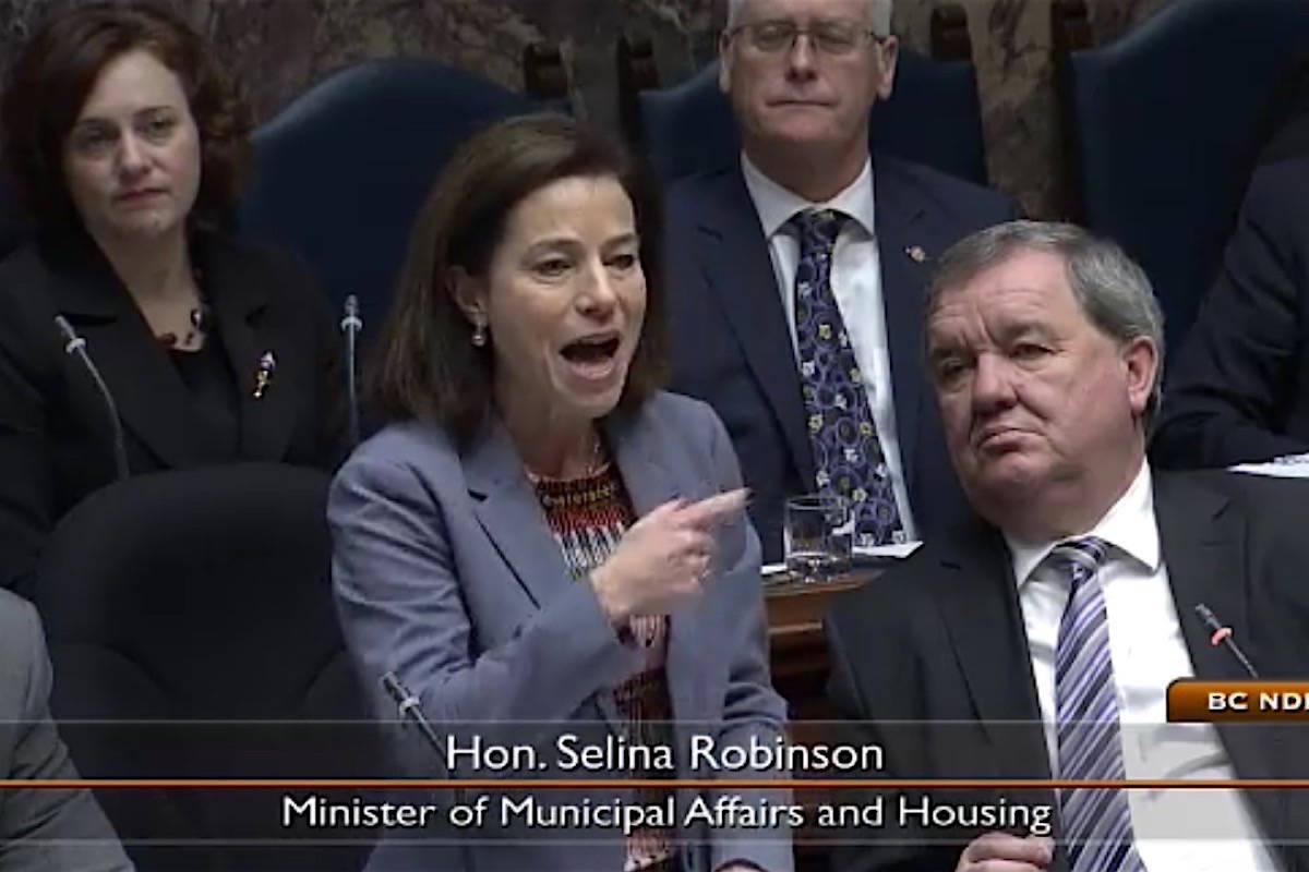 Municipal Affairs Minister Selina Robinson battles with opposition in question period, B.C. legislature, November 2017. (Hansard TV)