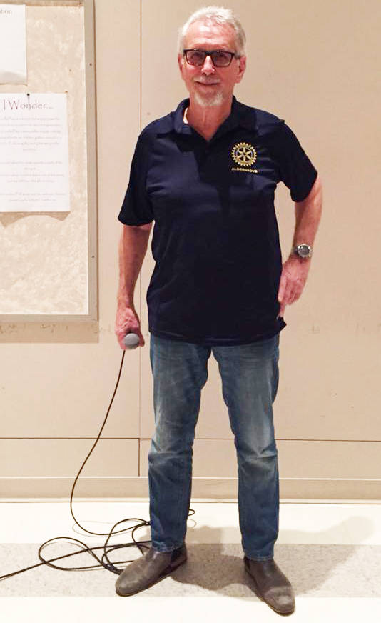 Aldergrove Rotarian Howie Vickberg served as MC for the club's Pasta Night fundraiser.