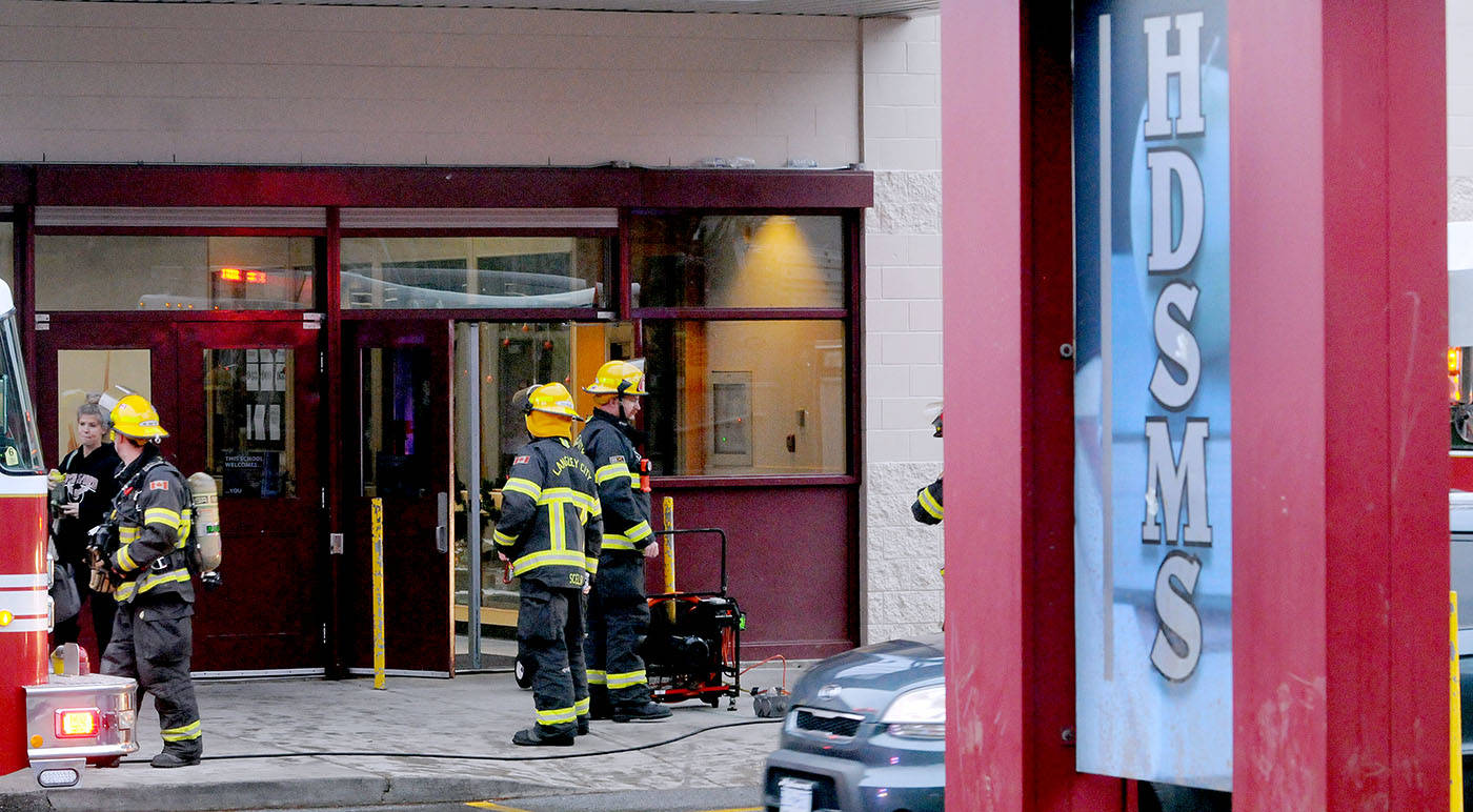Firefighters responded to a small fire inside H.D. Stafford Middle School just as the bell rang to let students out Tuesday afternoon. Troy Landreville Langley Times