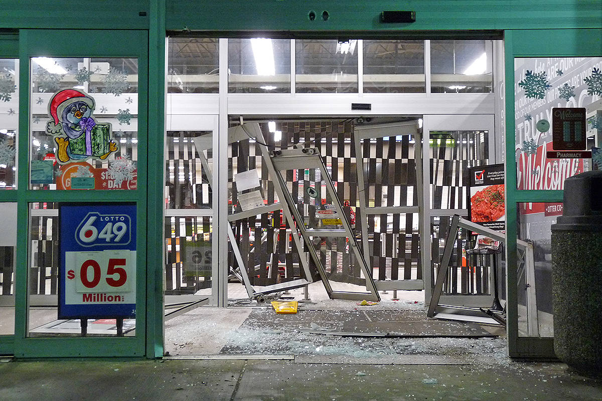 Someone apparently tried to smash their way into the Otter Co-op at 248 Street and Fraser Highway early Saturday. Dan Ferguson Langley Times