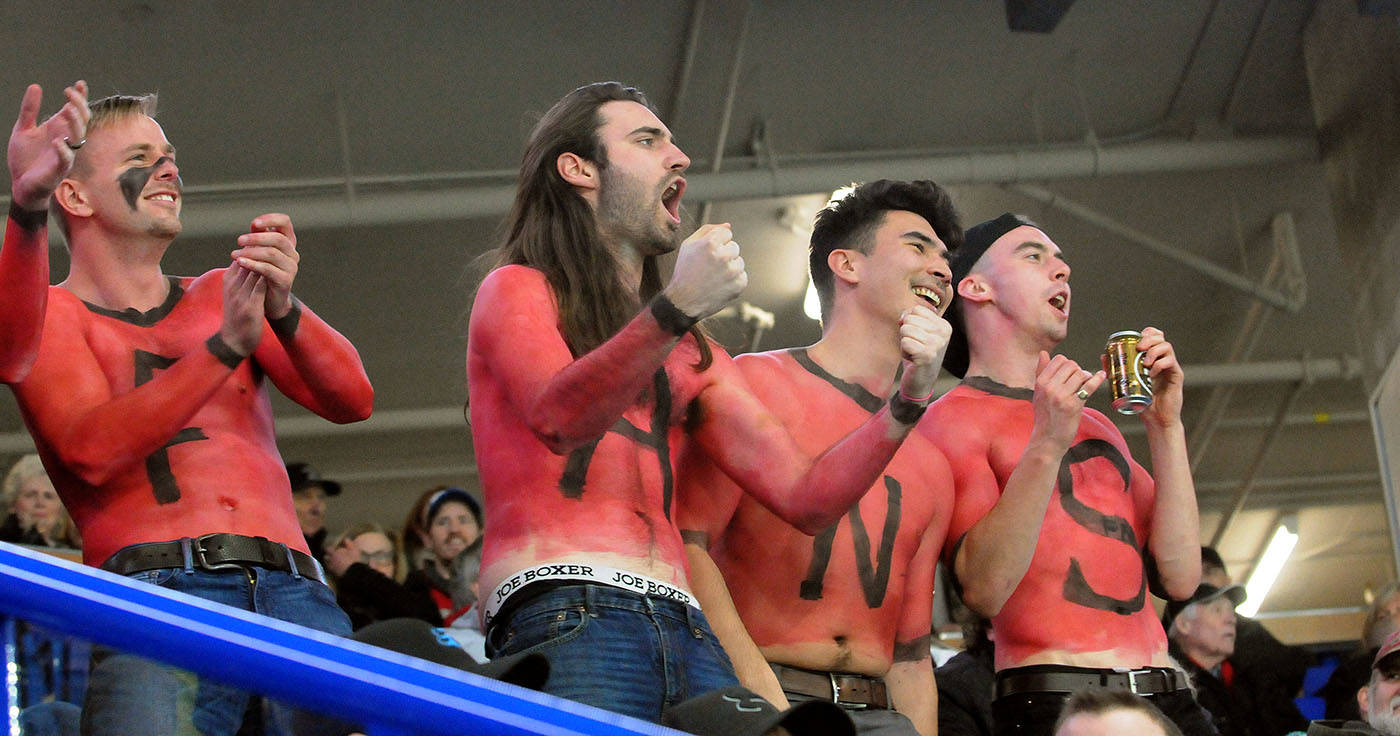 Boisterous Vancouver Giants fans came to Saturday's Western Hockey League game between the Giants and Prince George Cougars at the Langley Events Centre dressed for the occasion. Troy Landreville Black Press
