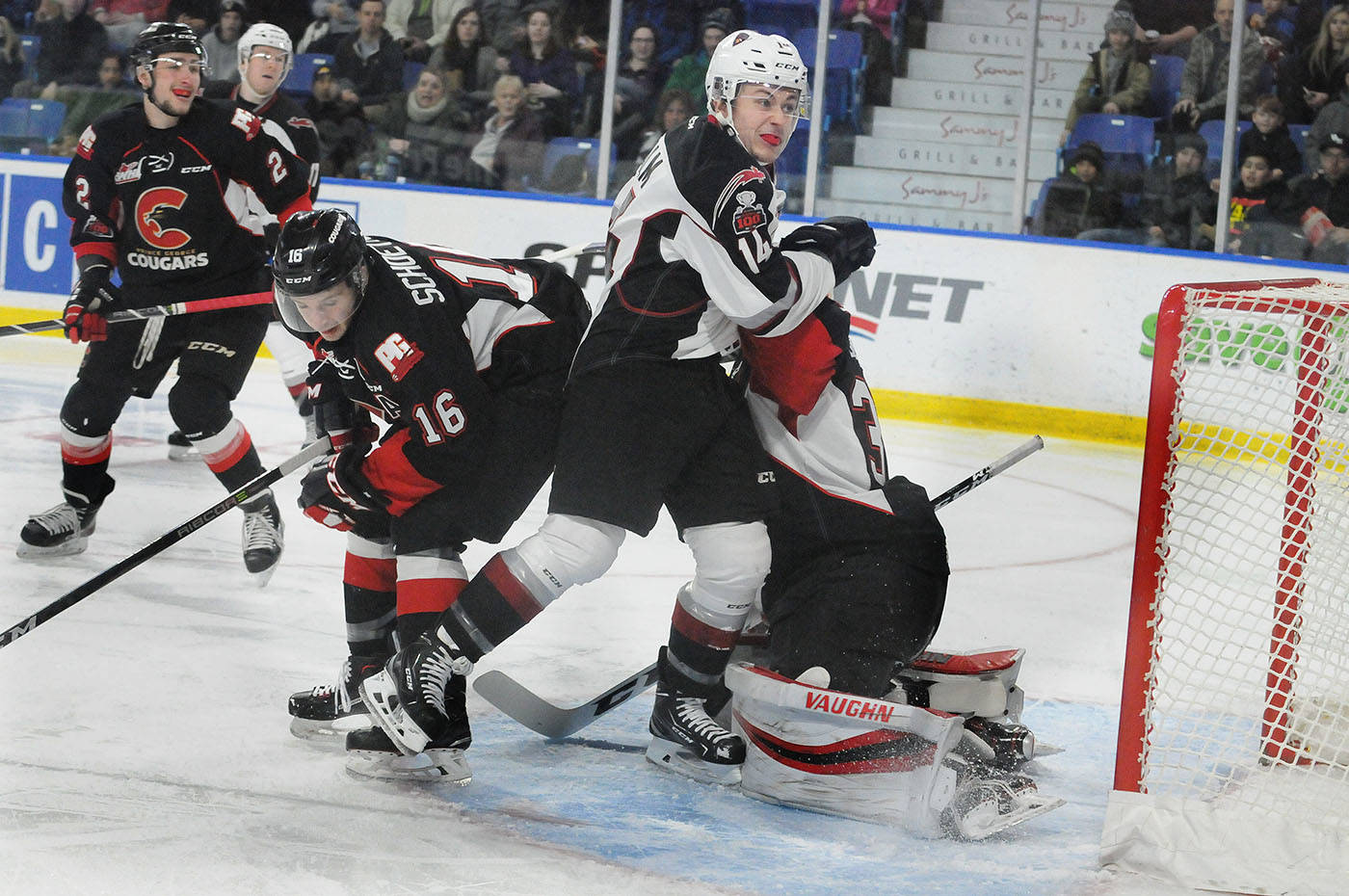 Vancouver Giants centre James Malm crowded the Prince George Cougars crease as Malm and the G-Men looked to end 2017 with a victory at the Langley Events Centre on Saturday. Troy Landreville Black Press