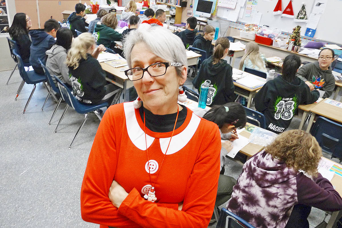 Teacher Guyanne Inouye says most of her students had never knitted until she came up with an idea for a class project to hand-make scarves for the homeless. Dan Ferguson Langley Times