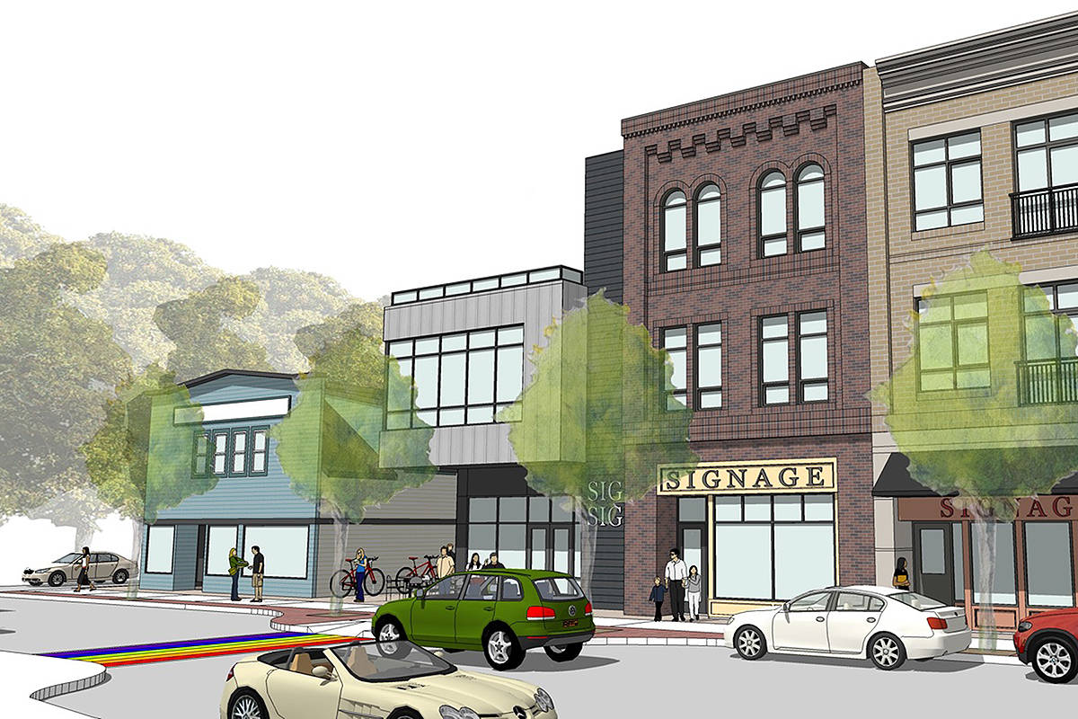 Drawing of proposed Glover Road West project showing heritage building. Statewood Properties image.