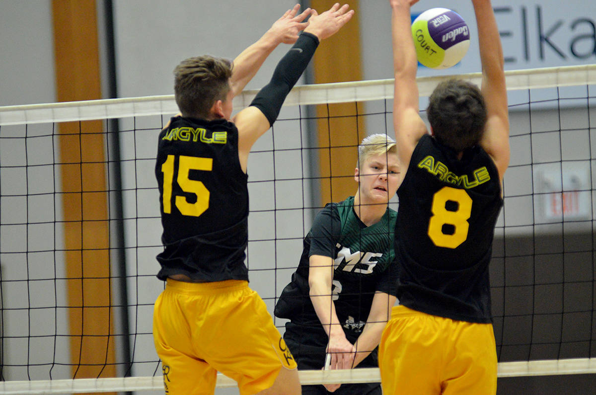 BC boys AAA volleyball quarter-final championships, Langley Events Centre Earl Marriott's Nicholas Prokopic and his Mariners' teammates are onto the semifinal round. Gary Ahuja Black Press