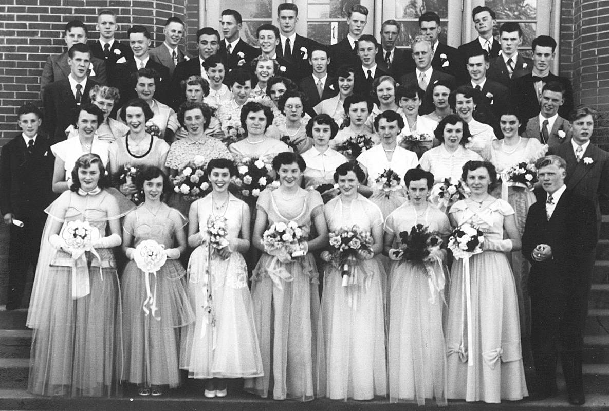 MRHS graduating class on June 13, 1952, the year before the school burned down. Robson is listed as seventh from the left in the sixth row, but he is more towards the right rear. (Maple Ridge Museum)