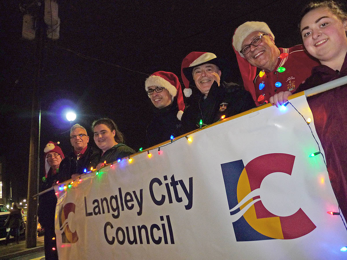 Members of Langley City Council marched, with helpers to assist with the banner. Dan Ferguson Langley Times.