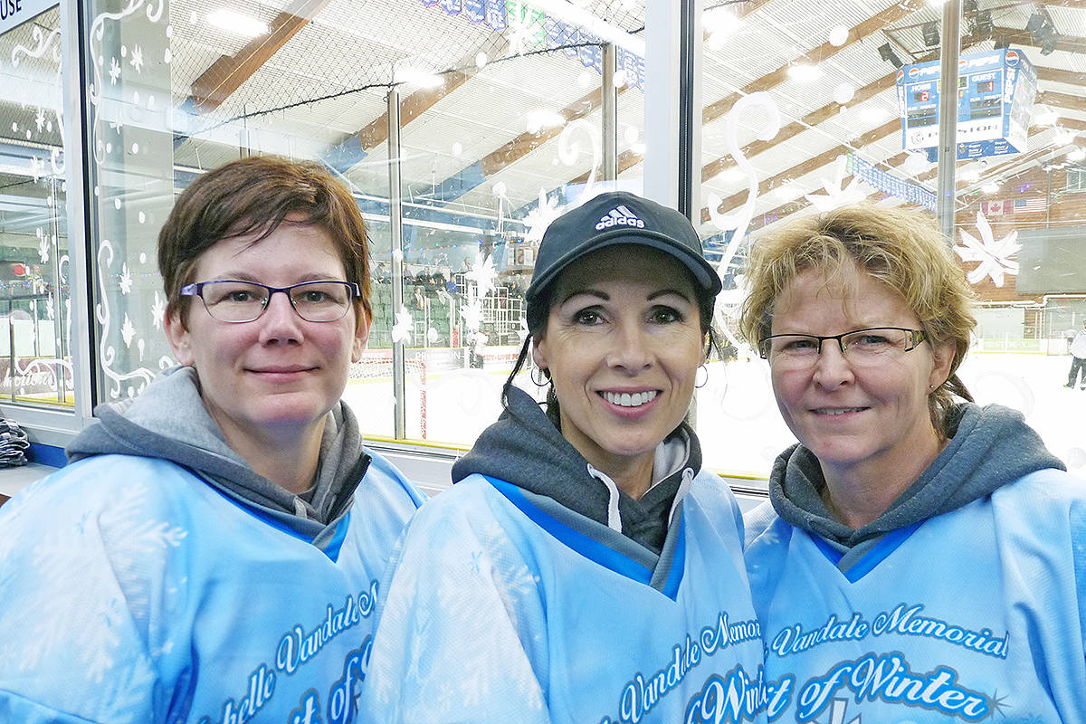(L to R) Nicole Borges, Jeaneen Briner and Yvonne Johnson, organizers of the Michelle Vandale memorial tournament, at George Preston. Dan Ferguson Langley Times