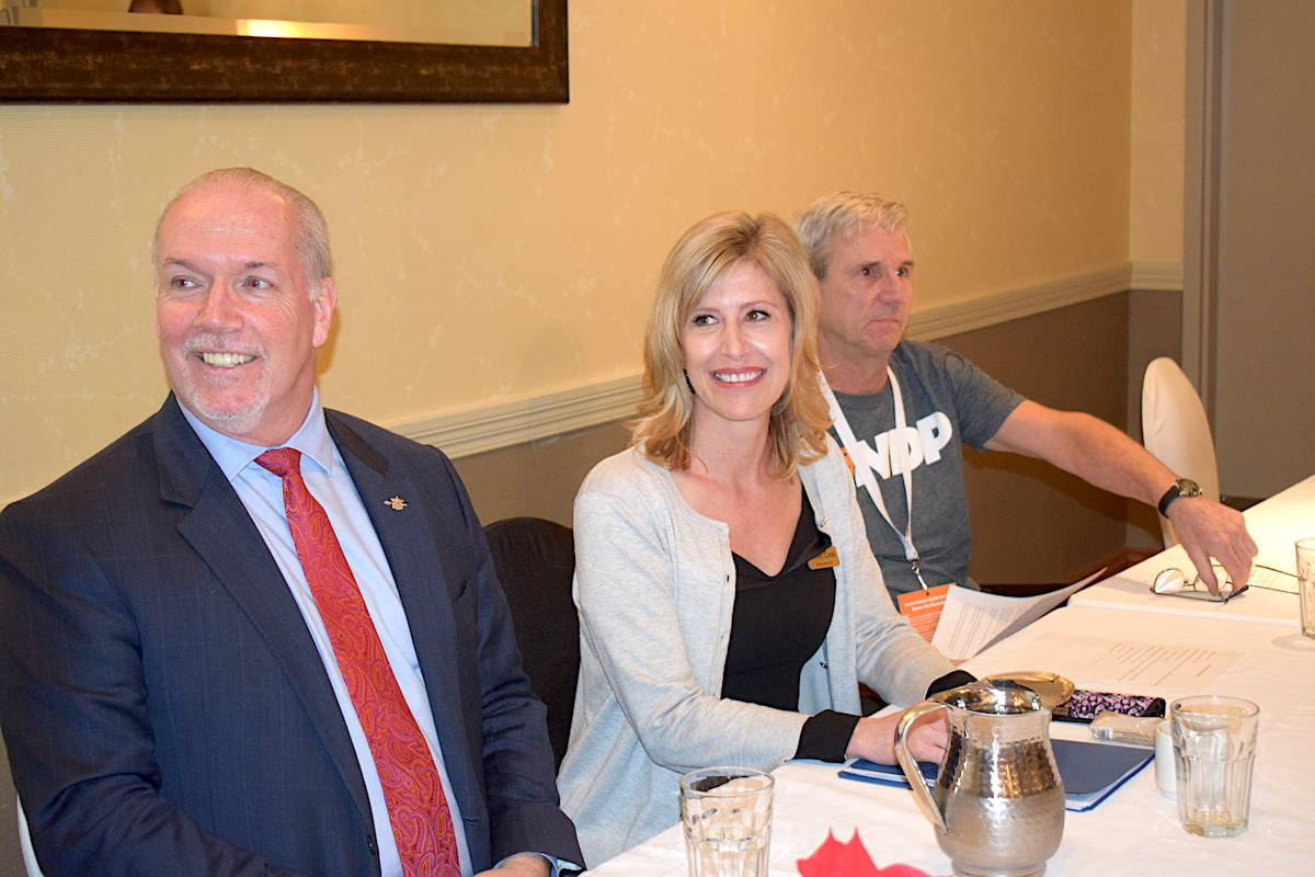 Premier John Horgan with Kelowna West NDP candidate Shelley Cook at Sunday's nomination meeting where Cook was acclaimed as the party's candidate in the upcoming byelection. —Image: Alistair Waters/Capital News