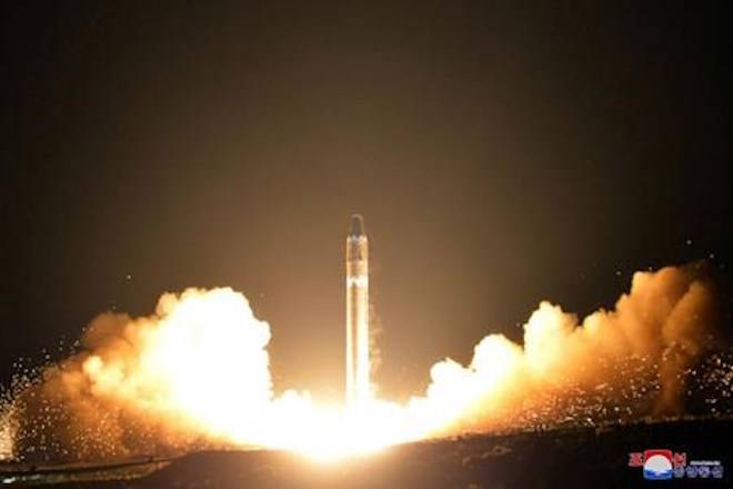 FILE - This Wednesday, Nov. 29, 2017, file image provided by the North Korean government on Thursday, Nov. 30, 2017, shows what the North Korean government calls the Hwasong-15 intercontinental ballistic missile, at an undisclosed location in North Korea. (Korean Central News Agency/Korea News Service via AP)