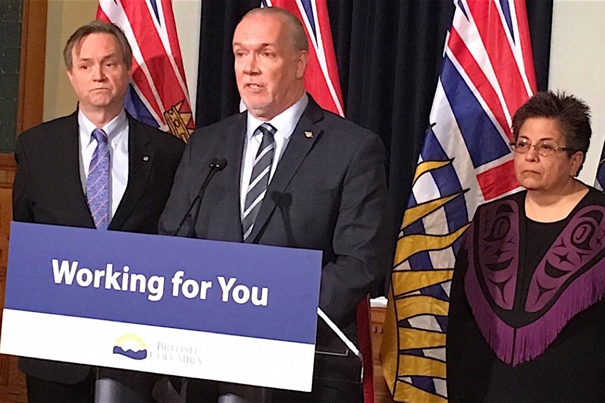 Premier John Horgan announces former Indigenous relations minister George Abbott and Skawahlook First Nation Hereditary Chief Maureen Chapman to lead review of the 2017 flood and forest fire season. (Tom Fletcher/Black Press)