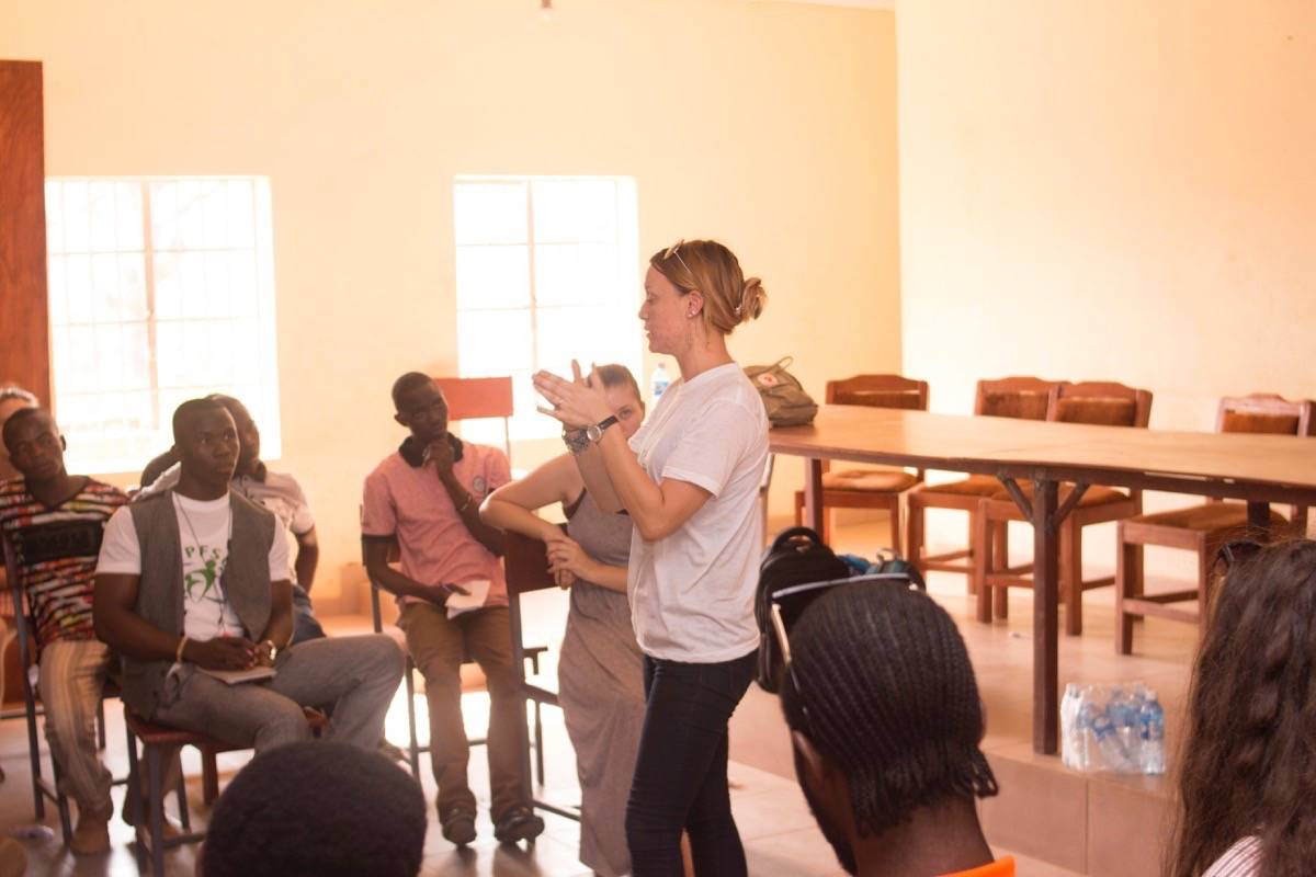 Christina Bucholtz addresses the room at a 2016 Intercultural Youth Conference in Sierra Leone. (Contributed)