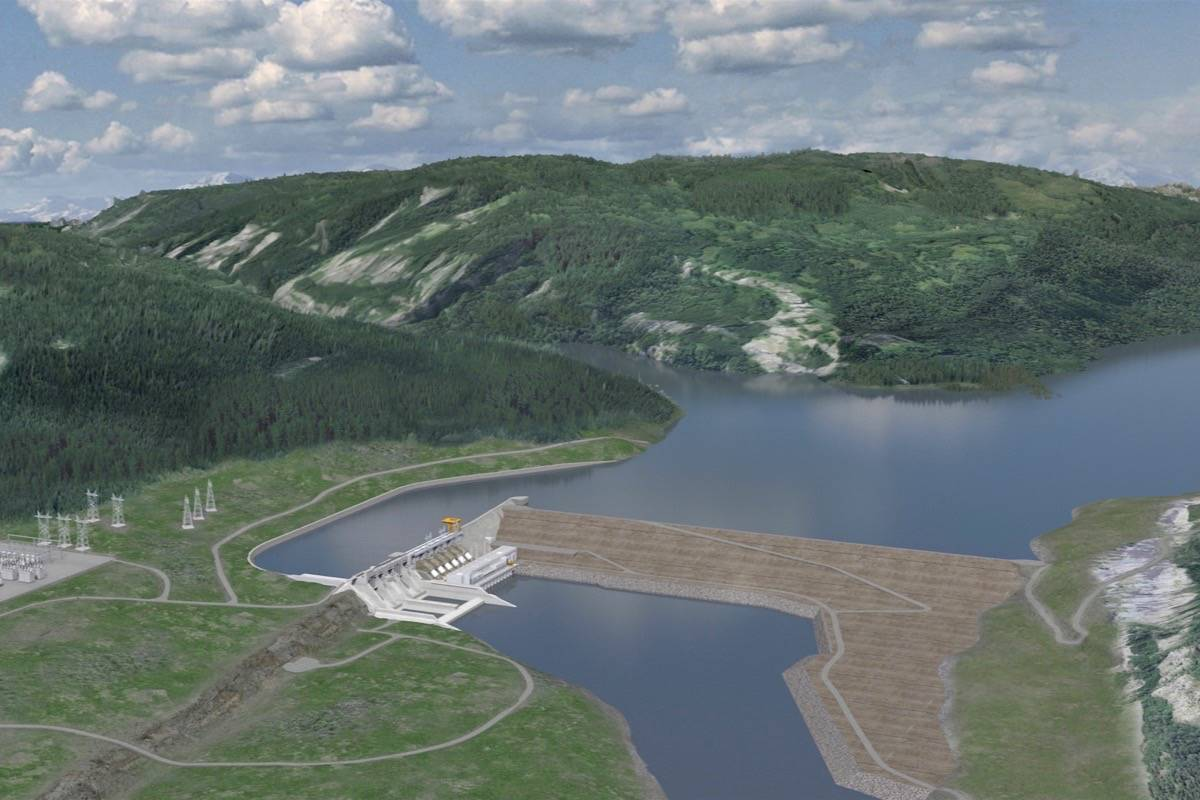 Artist's rendering of the Site C dam, the third hydro dam on the Peace River that started construction in 2015. (BC Hydro)