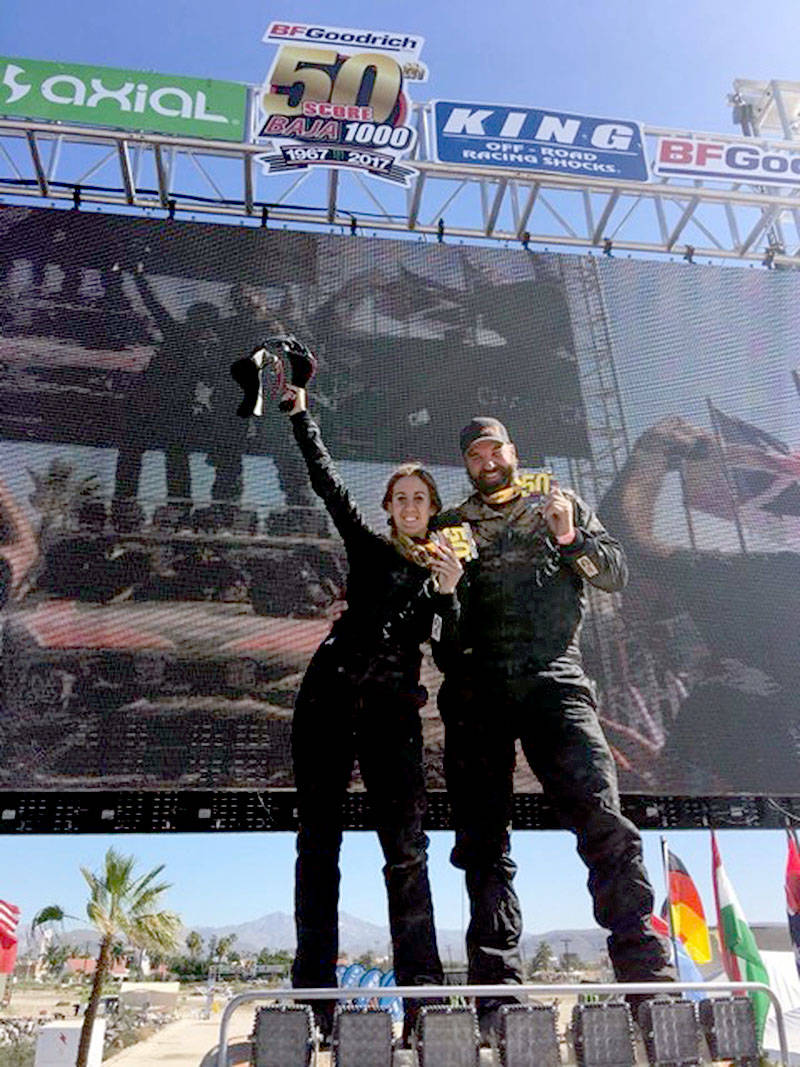 Kendall Ballantine and husband Jason Vandenborn celebrated after completing the 50th edition of the Baja 1000 last month.