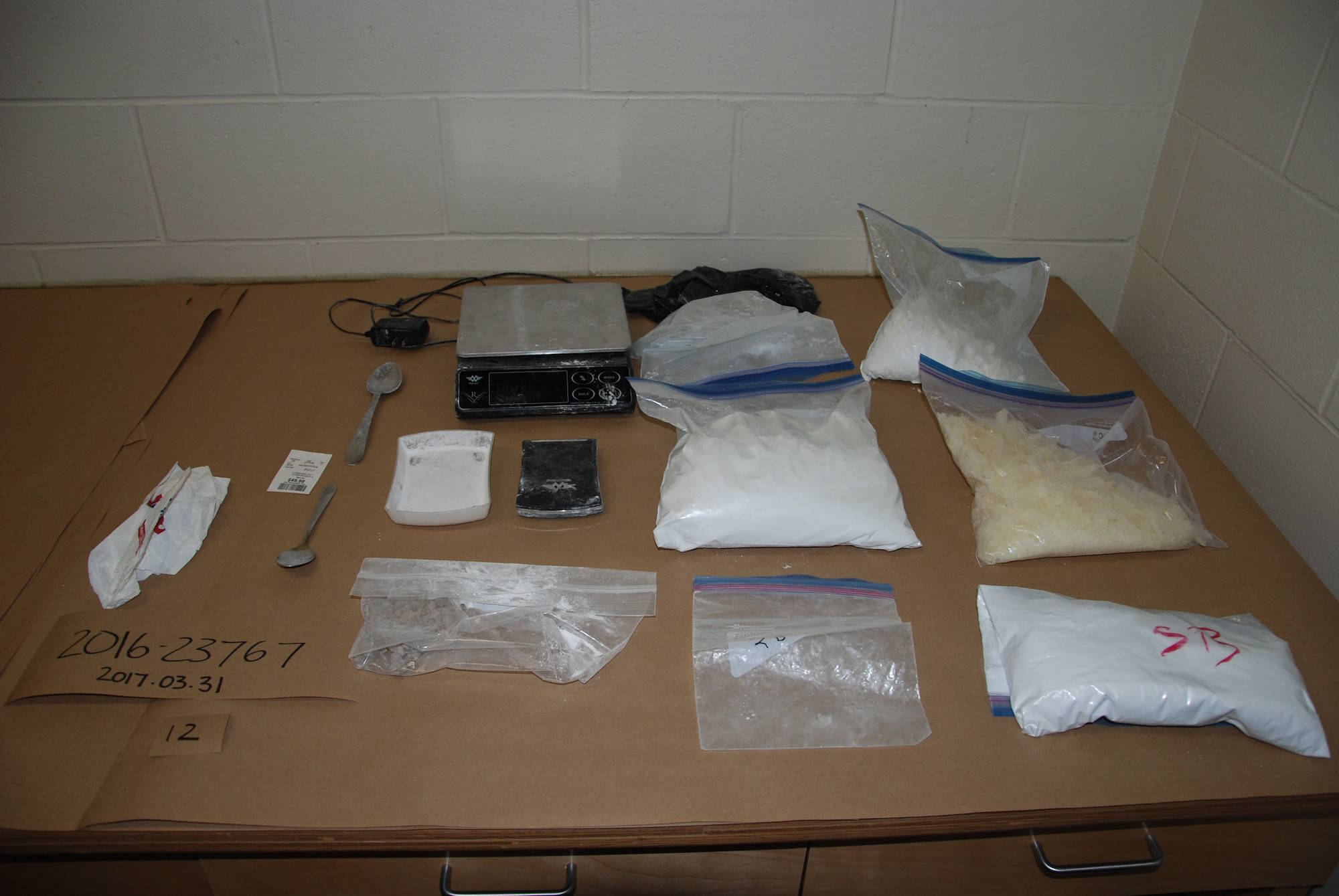 """""""Drugs Seized from DAGLE's Residence. March 30, 2017."""" Image credit: Kamloops RCMP"""