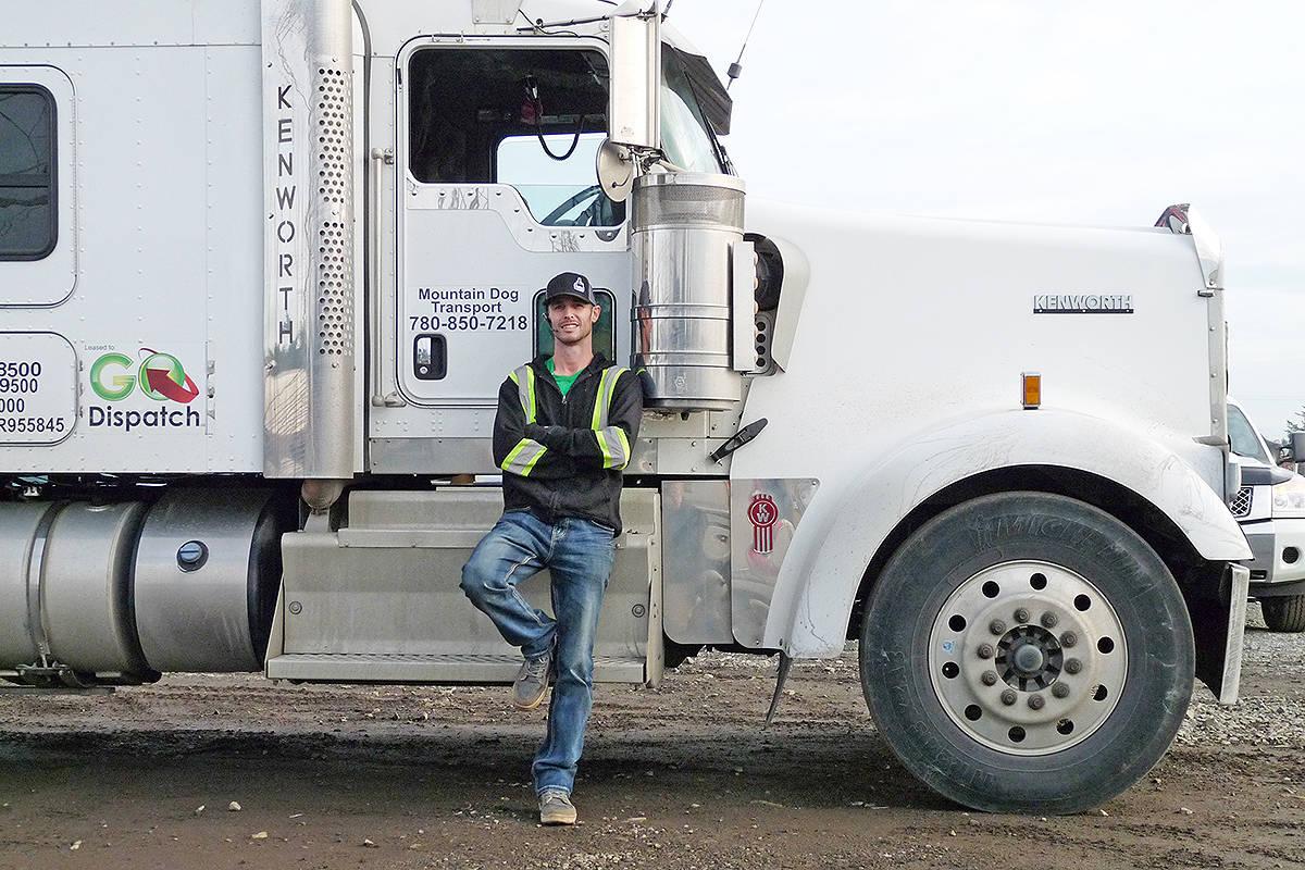 Alberta trucker Scott Stevens of Furry Hobos and Highway Heroes gave Frankie a ride home. Dan Ferguson Langley Times