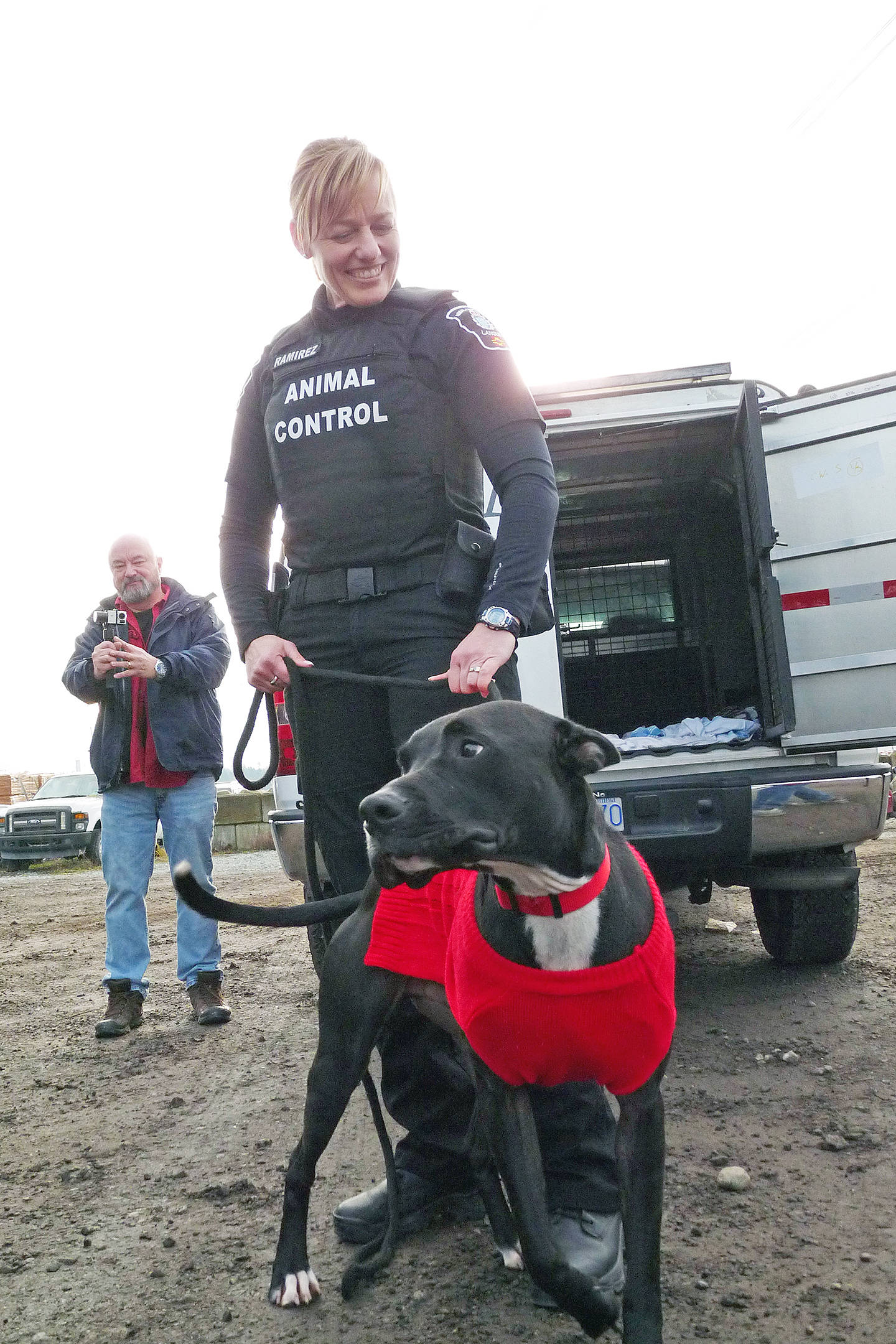 Animal control officer Jenny Ramirez dropped Frankie off at a local truck park where his ride home to Alberta was waiting along with several news cameras. Dan Ferguson Langley Times