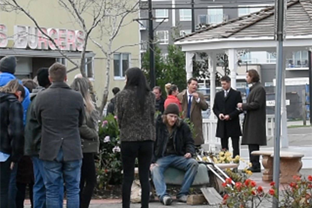 Actors Misha Collins, Jensen Ackles and Jared Padalecki spotted in downtown Cloverdale filming scenes for Supernatural. (Sam Anderson)