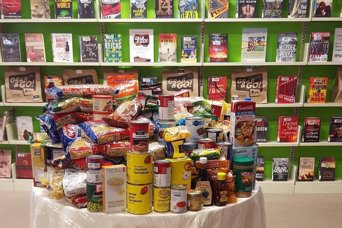 Fraser Valley Regional Library patrons can pay their fines with non-perishable food items now through January 21, 2018. (Contributed photo)
