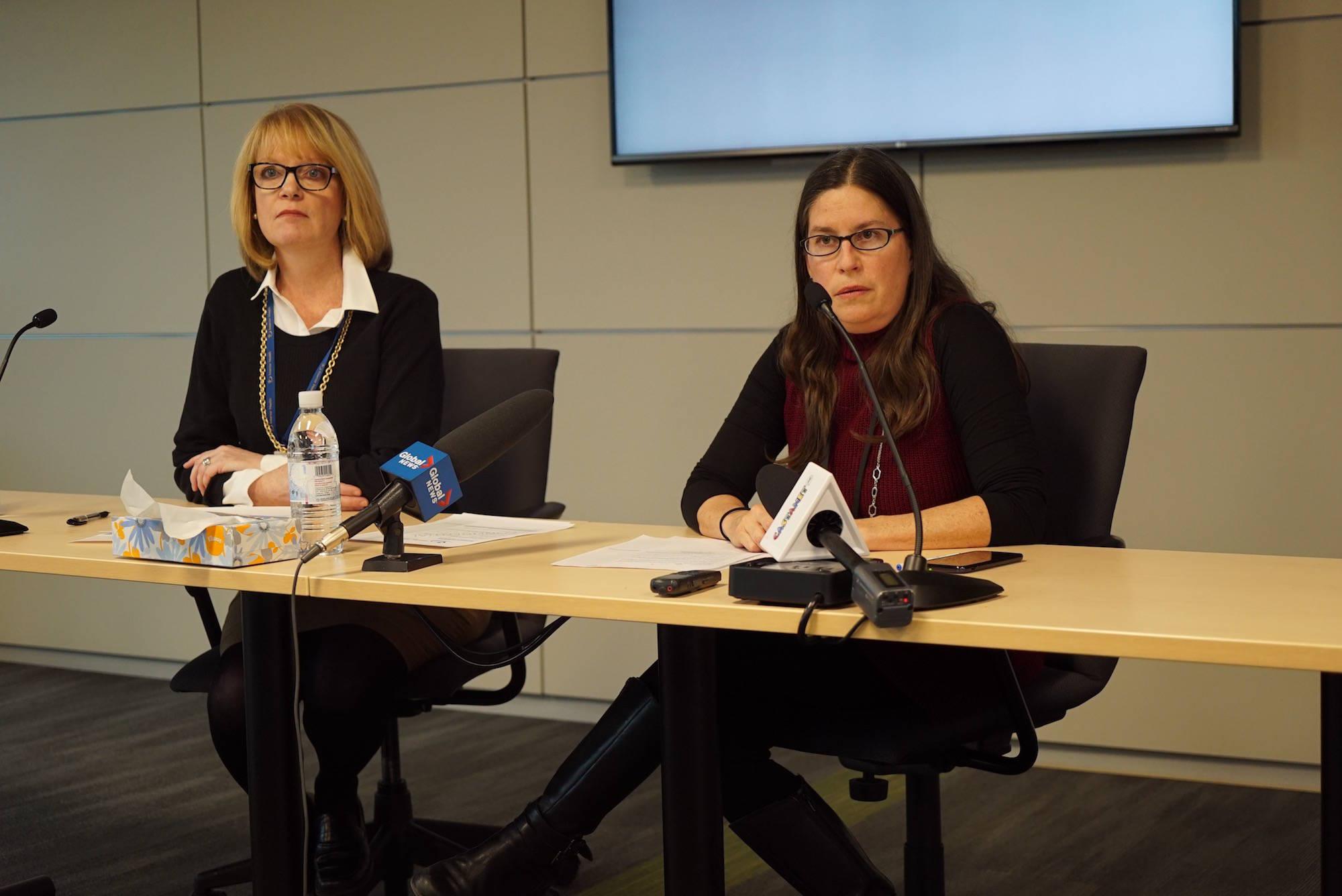 Interior Health communications administrator Deborah Preston, left, and medical health officer Dr. Karin Goodison update media on declaring an outbreak of meningococcal disease in the Okanagan. (Carmen Weld/Black Press)