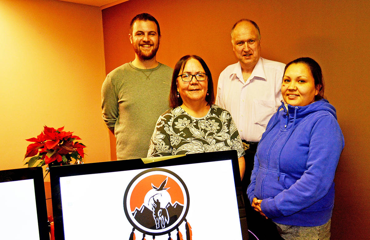 Tsilhqot'in National Government communications manager Graham Gillies (left), translator and transcriber Bella Alphonse and NDIT intern Crystal Rain Harry have been working with Rob Hopkins to create a new Tsilhqot'in Community Radio station. Monica Lamb-Yorski photo