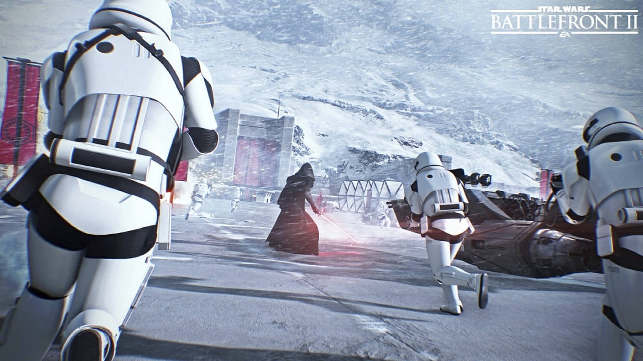 """Kylo Ren and stormtroopers enter the fight in this image from """"Star Wars: Battlefront II."""" MUST CREDIT: EA"""
