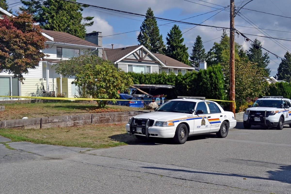Police were at a two-storey Goggs Avenue home in White Rock Sept. 26, in connection with a pair of shots-fired incidents that occurred in South Surrey days before. (File photo)