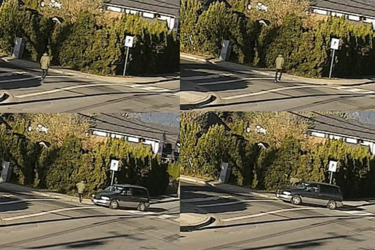 This sequence of images from a security camera on Dec. 14 shows a pedestrian being struck by a vehicle at the intersection of Williams Street and Reece Avenue in Chilliwack. (Rob Iezzi)