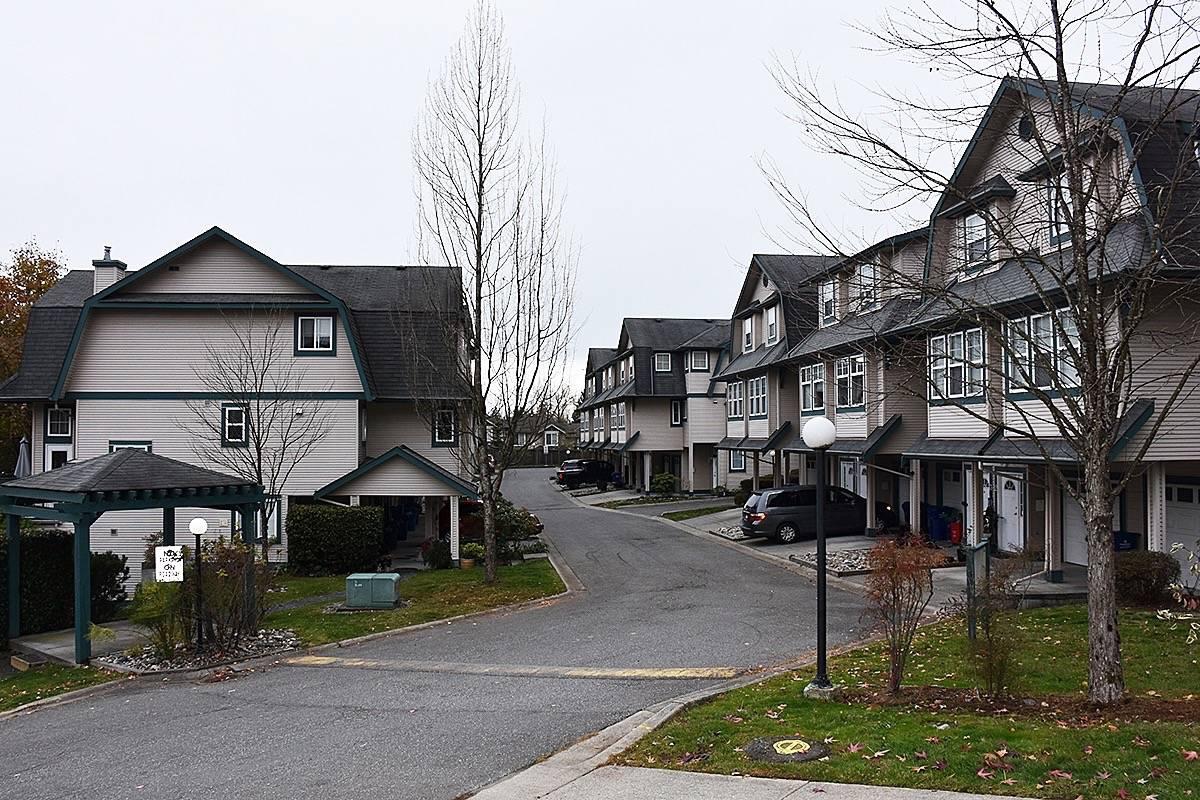 The townhouse complex where Sagmoen owned a unit in Maple Ridge. (Neil Corbett/THE NEWS)