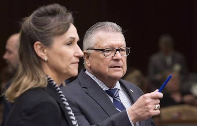 Communications Security Establishment Chief Greta Bossenmaier speaks with Public Safety Minister Ralph Goodale as they wait to appear before the Standing Committee on Public Safety and National Security, in Ottawa on Thursday, November 30, 2017. THE CANADIAN PRESS/Adrian Wyld
