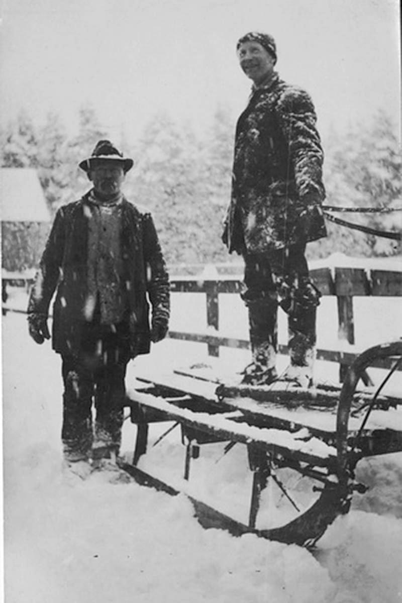 John Quible and Dolph Biggar in the snow, South Westminster, ca. 1915. (Courtesy City of Surrey Archives / SMA89.021-03)