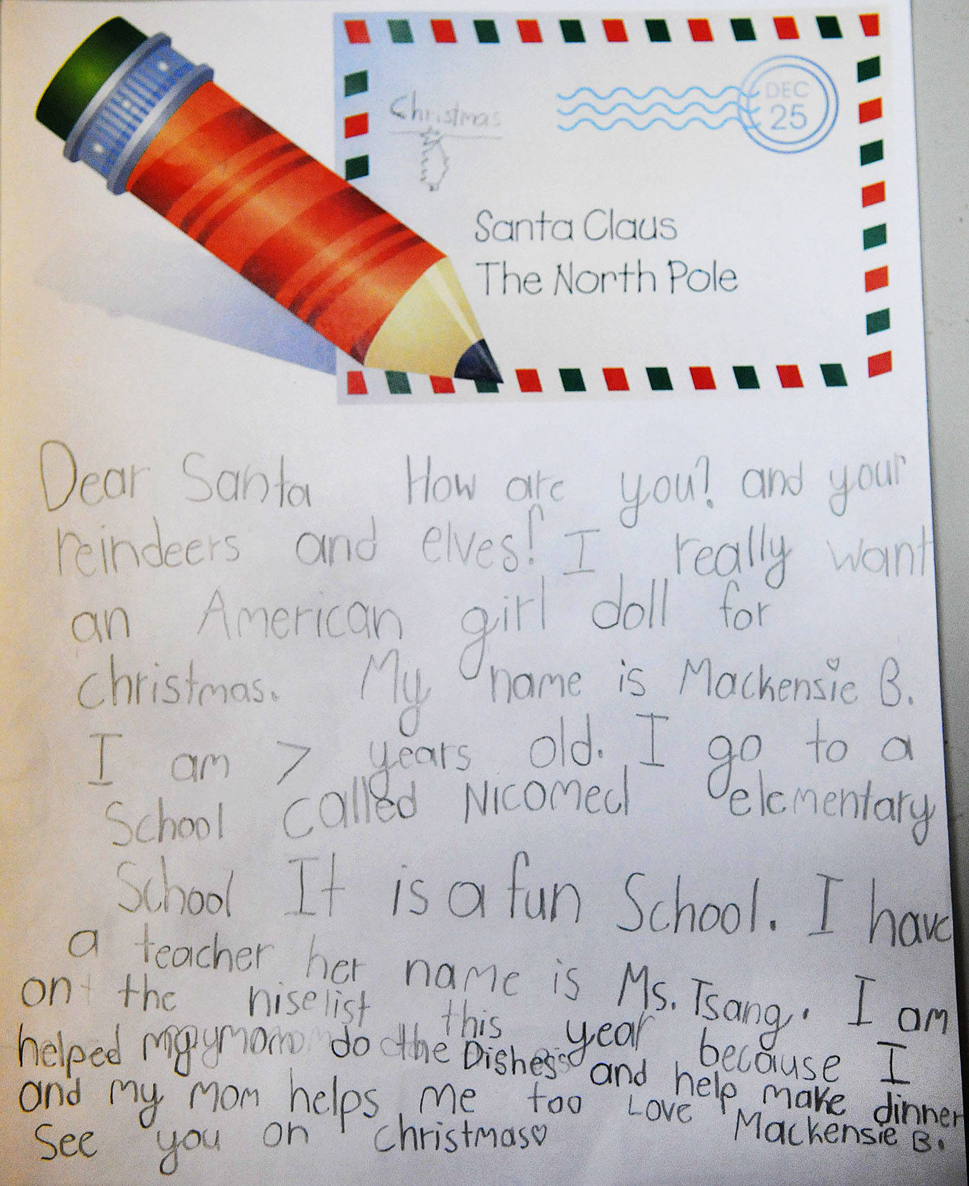 VIDEO: To Santa, from the kids at Nicomekl Elementary