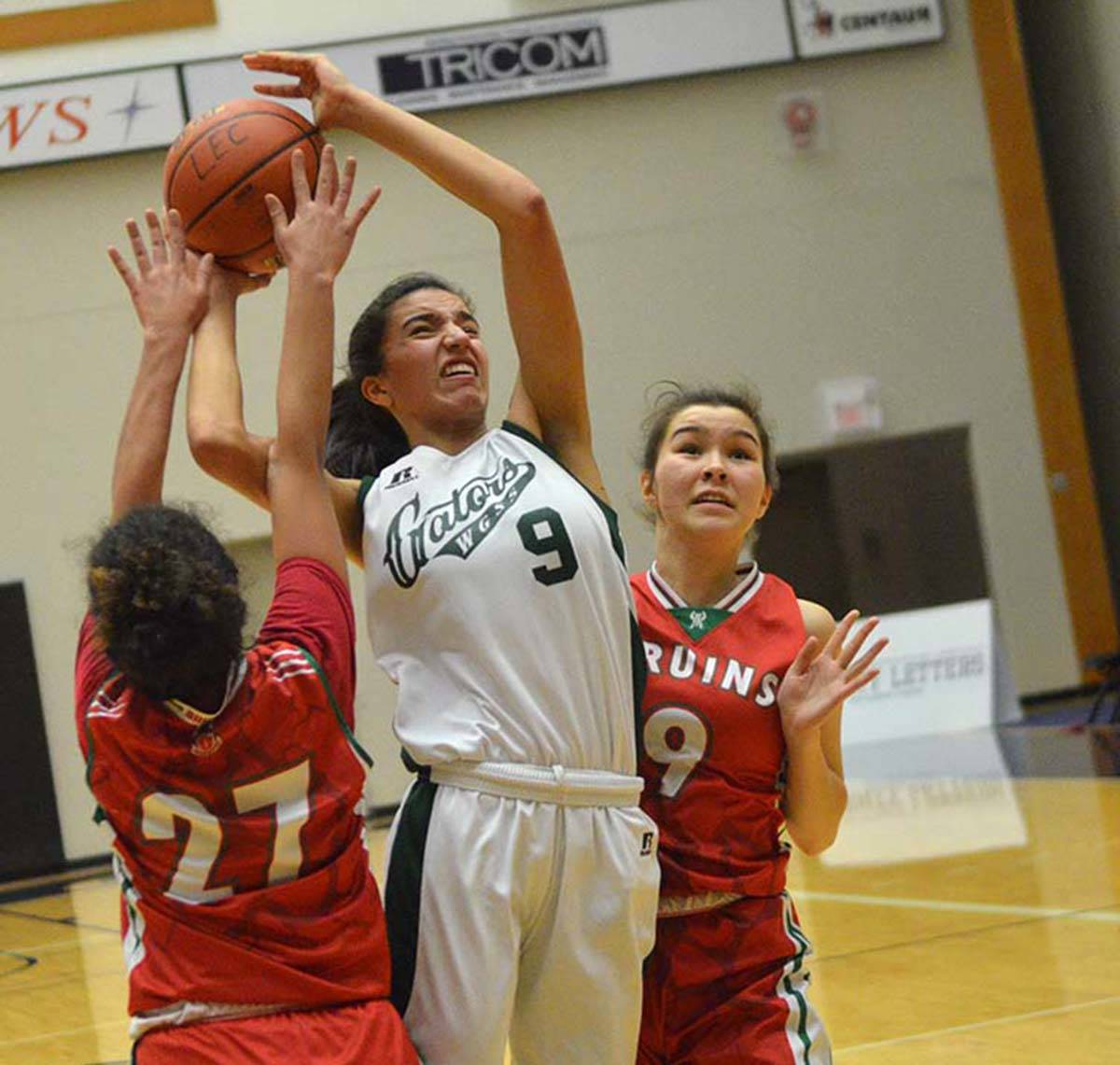 Walnut Grove Gators' Jessica Wisotzki drives to the hoop during opening round action at the Tsumura Basketball Invitational at the Langley Events Centre. Gary Ahuja Langley Times
