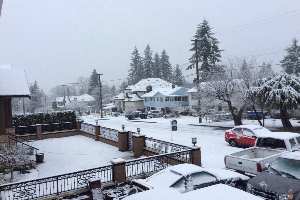 Snow fell in the Lower Mainland Tuesday. (Hilary Aulando/Twitter)