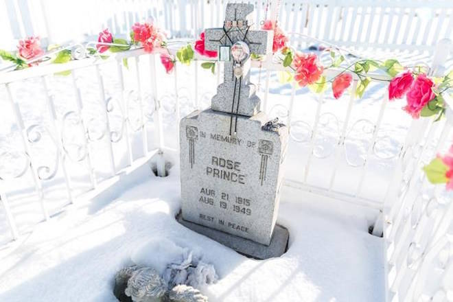 Rose Prince's final resting place is seen in Fraser Lake, B.C., on Monday, December 11, 2017. THE CANADIAN PRESS/James Doyle