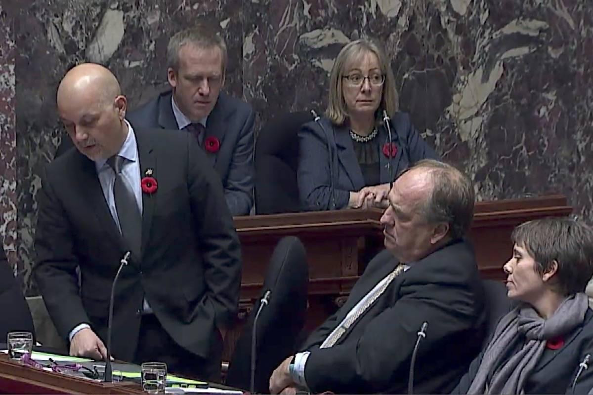 B.C. Green MLAs Adam Olsen, Andrew Weaver and Sonia Furstenau in the B.C. legislature, November 2017. (Hansard TV)