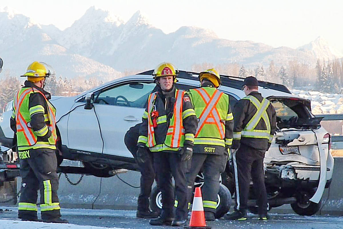One of the vehicles involved in a collision that closed the northbound lane of the 196 Street overpass in Langley. Dan Ferguson Langley Times