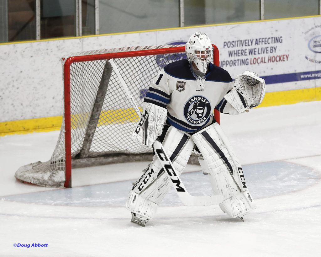 Langley Trappers goaltender Kristian Lyon posted the first shutout in the junior B hockey club's history with a 30-save performance on Dec. 21. Doug Abbott PJHL