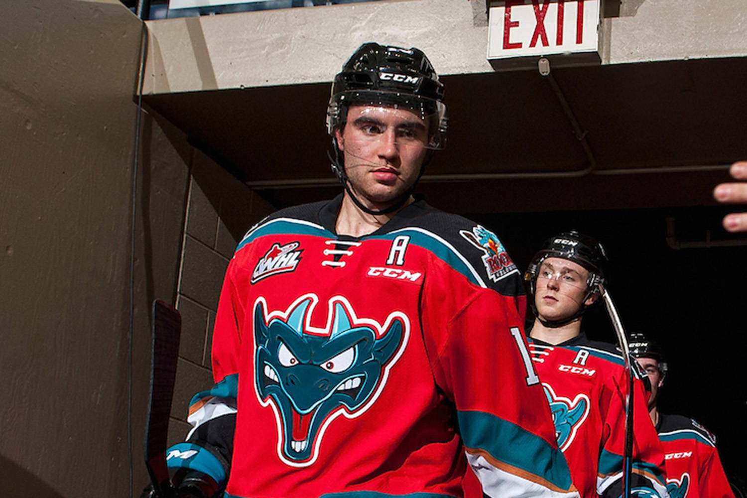 Dillon Dube #19 of the Kelowna Rockets leads the team through the tunnel to the ice against the Calgary Hitmen on October 13, 2017 at Prospera Place in Kelowna, British Columbia, Canada. - Image: Marissa Baecker/Shoot the Breeze