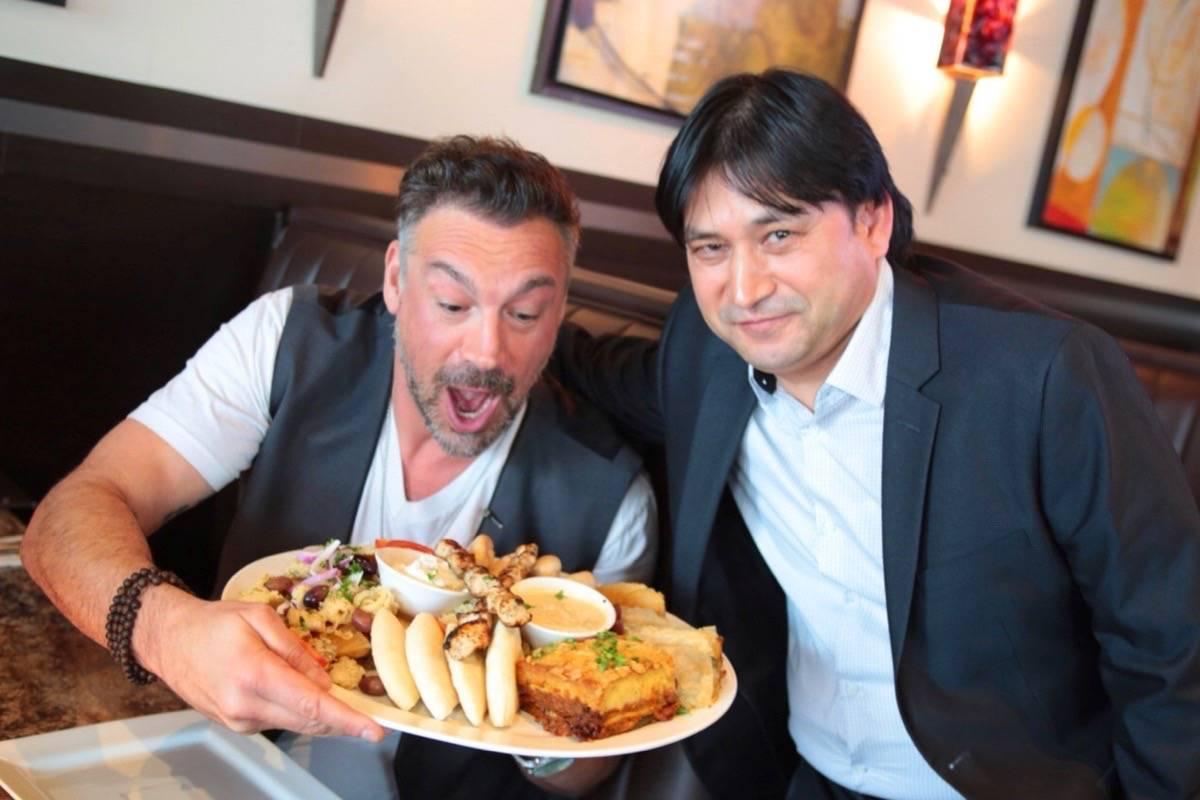 Actor Aleks Paunovic and Chef Sudat Noori at Dinakis Mediterranean Grill. (LeftcoastTV)