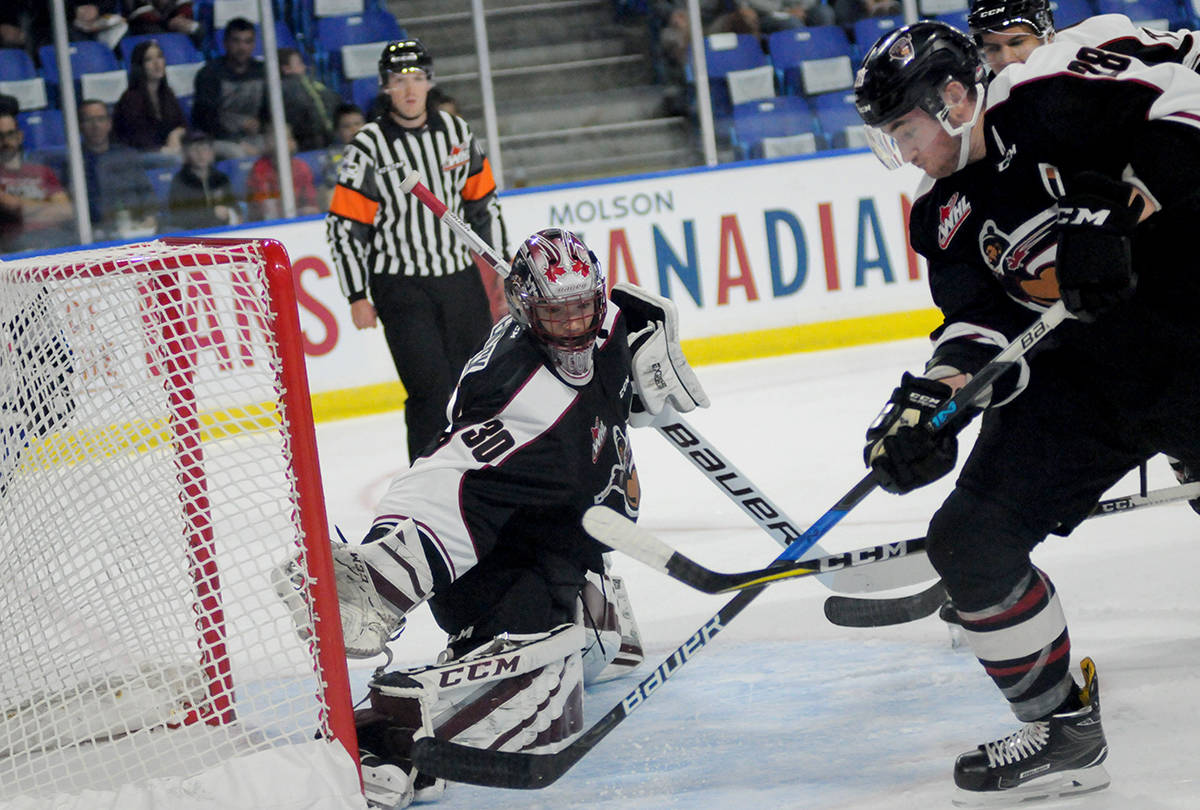 Vancouver Giants goaltender David Tendeck stretches out to make the save during a game earlier this season. Gary Ahuja Langley Times