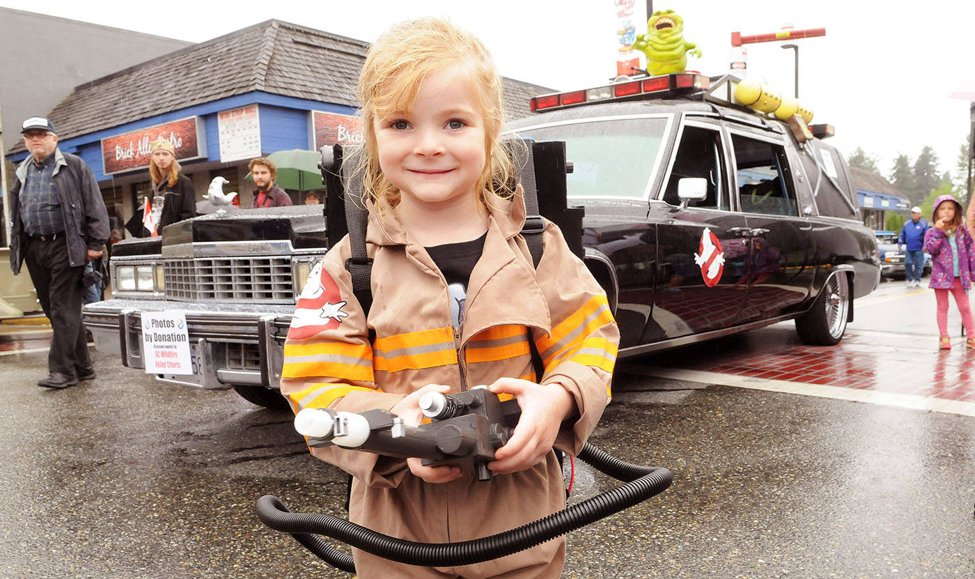 Callie Huber, four, was the youngest Ghostbuster at this year's Langley Good Times Cruise-In in downtown Aldergrove in September. Ghostbusters of British Columbia brought their 1977 Cadillac Hearse to the Cruise-In. Donations in exchange for photos with the Ghostbusters and their car went to B.C. wildfire victims. Troy Landreville Langley Times