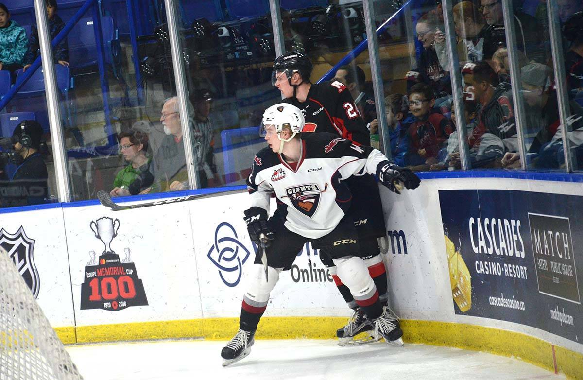Vancouver Giants vs Prince George, WHL action at Langley Events Centre Jan. 1 Giants' Bowen Byram boxes out Prince George's Liam Ryan Gary Ahuja Langley Times