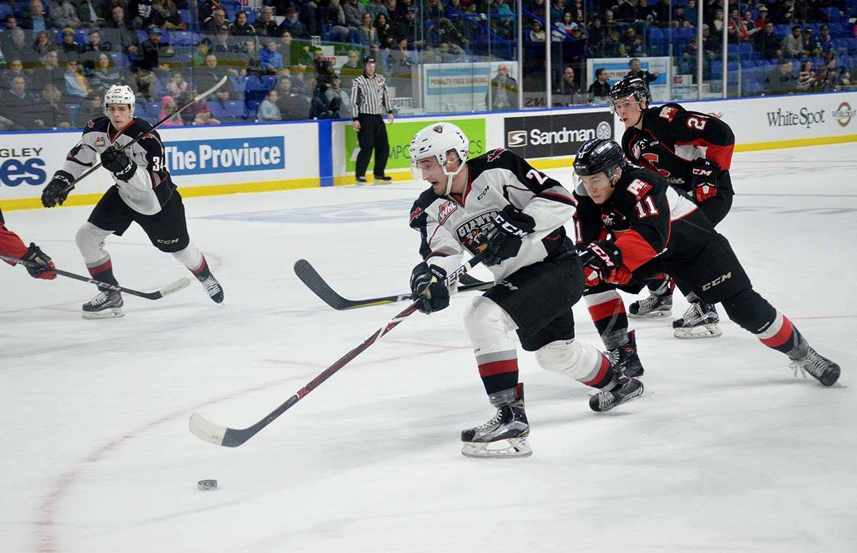 Vancouver Giants vs Prince George, WHL action at Langley Events Centre Jan. 1 Giants' Jared Dmytriw Gary Ahuja Langley Times