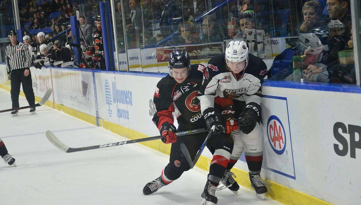Vancouver Giants vs Prince George, WHL action at Langley Events Centre Jan. 1 Vancouver's Owen Hardy and Prince George's Joel Lakusta Gary Ahuja Langley Times