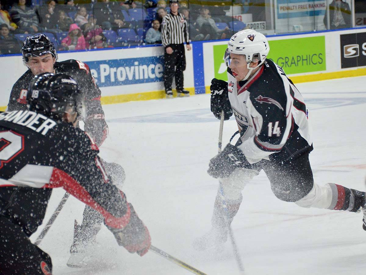 Vancouver Giants vs Prince George, WHL action at Langley Events Centre Jan. 1 Vancouver's James Malm Gary Ahuja Langley Times